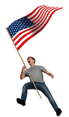 A young man screams with anger as he carries an American flag in this 3-D illustration about political anger in the USA. Stok Fotoğraf - 165825184