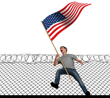 A young man screams with anger as he carries an American flag in this 3-D illustration about political anger in the USA. A barbed wire fence is behind him. Stok Fotoğraf