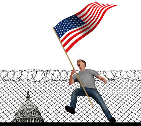 A young man screams with anger as he carries an American flag in this 3-D illustration about political anger in the USA. A barbed wire fence and U.S. Capitol is behind him. Stok Fotoğraf