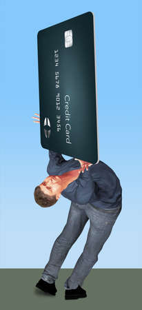 A man struggles under the weight and worry of credit card debt. He holds a huge credit card in a 3-D illustration Stok Fotoğraf