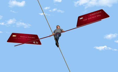 A young man walks a tightrope high wire while balancing his credit cards. This 3-D illustration is about managing credit card balances. Stok Fotoğraf