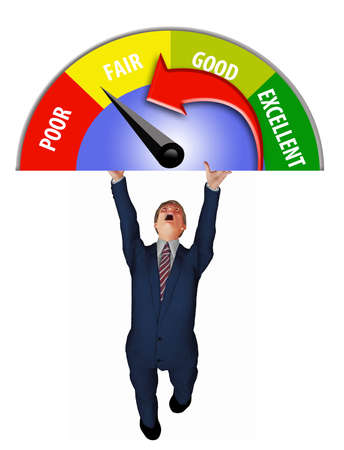 A man in a business suit struggles to hold up a credit score meter in this 3-D illustration about credit scores.