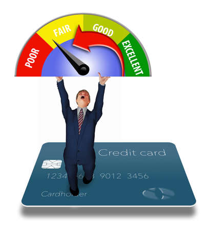 A man in a business suit holds up a credit card meter as he stands on a credit card in this 3-D illustration. Stok Fotoğraf