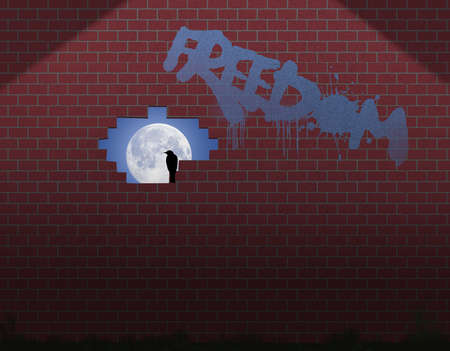 """A bird sits in an opening in a brick wall as moonlight shines through. Graffiti on the wall spells the word """"freedom"""" in this3-D illustration about freedom. Stok Fotoğraf"""