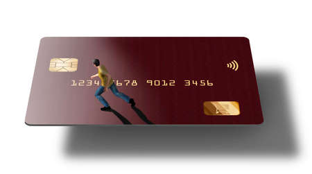 A contemporary red credit card is seen with a small figure of a man running across the card. This is a 3-D illustration. Stok Fotoğraf