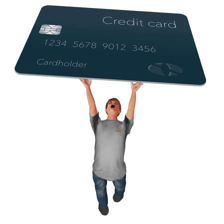 A man struggles to hold a hug credit card over his head in this 3-D illustration. Illustrates credit card debt. Stok Fotoğraf