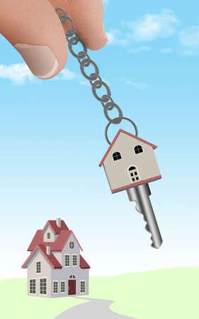 Fingers hold a keychain with a key shaped like a house. Stok Fotoğraf