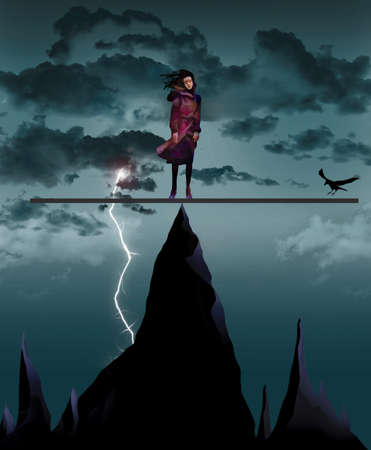 A girl is in an impossible situation teetering on a mountain peak during a thunderstom with dangerous peaks below her. A bird is about to land and upset her balance. Stok Fotoğraf - 166162177
