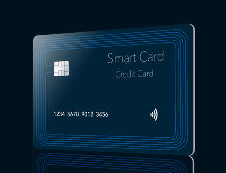 Here is a generic smart card credit card with a built in chip and antenna seen around the perimeter of the card. This is a 3-D illustration.