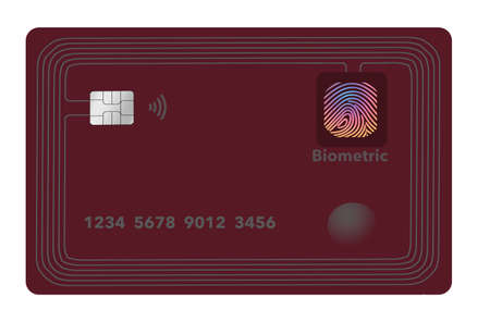 Here is a smart credit card with chip processor, rows of antenna circuits around the edges and a biometric touch pad. This is a 3-D illustration of a generic credit card.