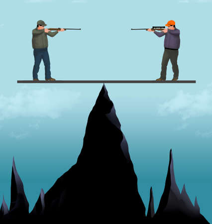 Men with rifles perched above shap mountain peaks are balanced on a plank in a no win situation.