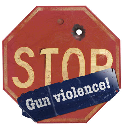 A stop gun violence sticker is seen on a traffic stop sign that has a bullet hole in the sign. This is a 3-D illustration. Stok Fotoğraf