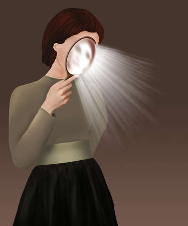 A woman holds a mirror close to her face as rays of light are emitted in this 3-D illustration about self evaluation or introspection.