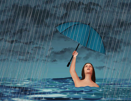 In an act of futility, a woman in a lake or ocean is in a rainstorm but despite being wet already, holds an umbrella overhead for protection from the rain in this 3-D illustration. Stok Fotoğraf