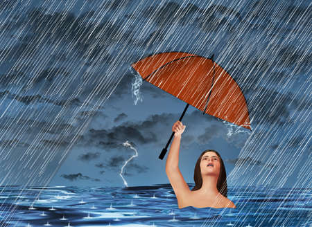 In an act of futility, a woman in a lake or ocean is in a rainstorm but despite being wet already, holds an umbrella overhead for protection from the rain in this 3-D illustration. Stok Fotoğraf - 166630522