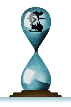 A female rides an exercise bicycle inside a huge hourglass in this 3-D illustration about prolonging your life and health with exercise.