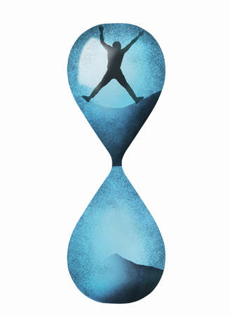 A man trapped inside an hourglass rocks it as he tries to escape. This is a 3-D illustration about ife, death, time and longer lives.