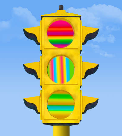 An electric traffic signal gives out a meaningless message with lights of multiple colors instead of the usual red, green and yellow signals. This is a 3-D illustration. Stok Fotoğraf