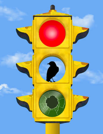 An old rusty broken traffic light inhabitated by a bird is seen in this 3-D illustration about failing infastructure. Stok Fotoğraf - 166541506