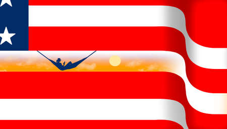 A USA red white and blue flag is the background for a woman in a hammock on a beach at sunset in this 3-D illustration.