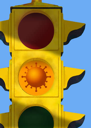 A virus particle is seen in the caution light of a traffic light.
