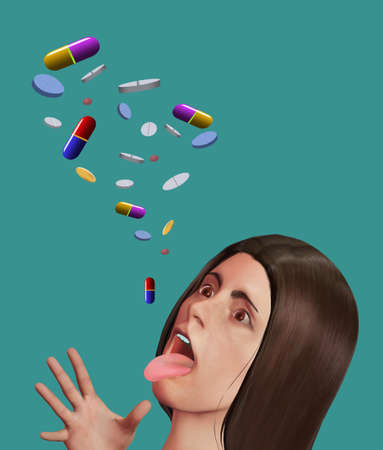An attractive young woman has her mouth open to accept a large number of pills and prescription drugs falling through the air above her.  This is a 3-D illustration. Stok Fotoğraf