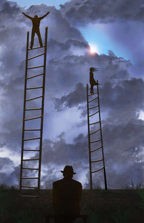 A man and a woman stand on tall ladders in a field under a cloudy sky as they search for something in life. Below is an old man seated and watching what he has seen before. This is a 3-D  illustration.
