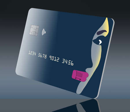 A beautiful girl's face is part of the design of a generic blue credit card in this 3-D illustration. The theme is about using your card for fashion, cosmetics and anything beauty. 免版税图像