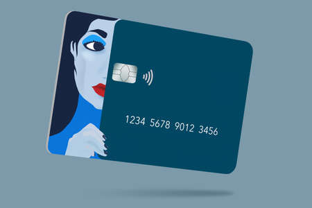 A beautiful girl's face is part of the design of a generic blue credit card in this 3-D illustration. The theme is about using your card for fashion, cosmetics and anything beauty.