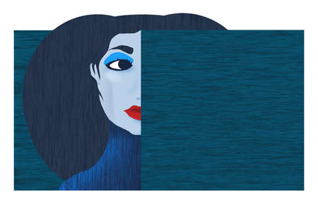A woman made with a graphic look of bold colors holds a blank text area for copy or more art. Stok Fotoğraf