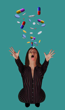 An attractive young woman has her mouth open to accept a large number of pills and prescription drugs falling through the air above her.  This is 3-D illustration. Stok Fotoğraf - 166801527
