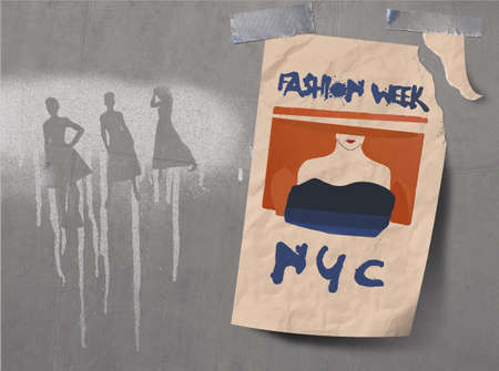 A poster for fashion week in New York City is seen taped to a concrete wall that is covered with spray painted fashion silhouettes graffiti. Stok Fotoğraf - 166801526
