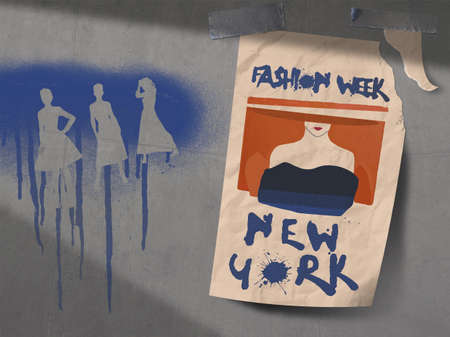 A poster for fashion week in New York City is seen taped to a concrete wall that is covered with spray painted fashion silhouettes graffiti.