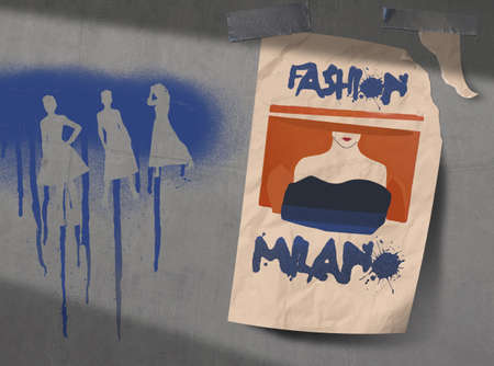A poster for fashion week in Milan is seen taped to a concrete wall that is covered with spray painted fashion silhouettes graffiti.