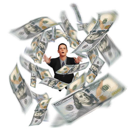 A man in a business suit grasps for hundred dollar bills that swirl overhead in this 3-D illustration about the elusiveness of money. Stok Fotoğraf