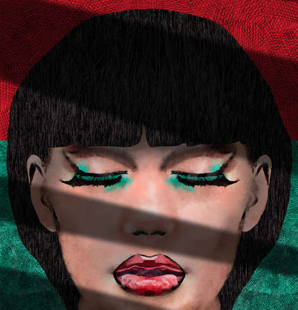 A woman with huge eyelashes and large red lips is seen in shadow and sunlight in this 3-D illustration about women's makeup. Stok Fotoğraf