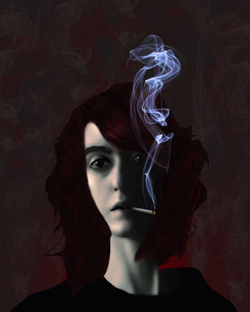 A woman is seen smoking a cigarette with smoke wafting from the cigarette. This is a 3-d illustration. Stok Fotoğraf