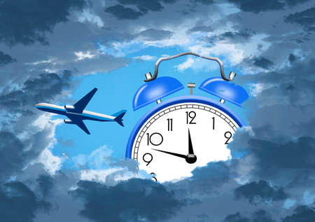 A jet airliner is seen through an opening in darkening clouds and an alarm clock is seen in the sky also. This is a 3-D illustration about jet lag for travelers.