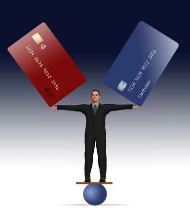 A man in a business suit stands on a round ball while balancing two large credit cards in his outstretched hands. This is a 3-D illustration about managing credit card balances. Stok Fotoğraf