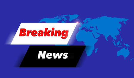 Here is a breaking news alert banner for television with a world map featuring Europe, Asia and Africa.
