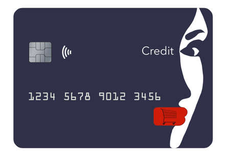 A beautiful girl's face is part of the design of a generic blue credit card in this 3-D illustration. The theme is about using your card for fashion, cosmetics and anything beauty. Standard-Bild - 167128902