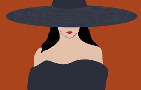 A woman in a fashionable dress and wide brim hat is seen in this illustration about modern fashion design.