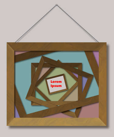 Empty wooden picture frames are stacked on one another with a single focal point of a small frame for your text or art. This is. a 3-D illustration. 免版税图像