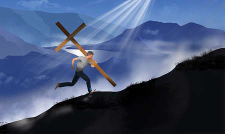 A young man is seen bearing a large wooden cross as he runs up a ridge on a mountain in this 3-D illustration about religious symbolism.