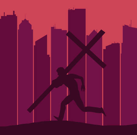 A silhouetted figure carring a large cross runs on a ridge with a skyline of a major city seen in the background. 免版税图像