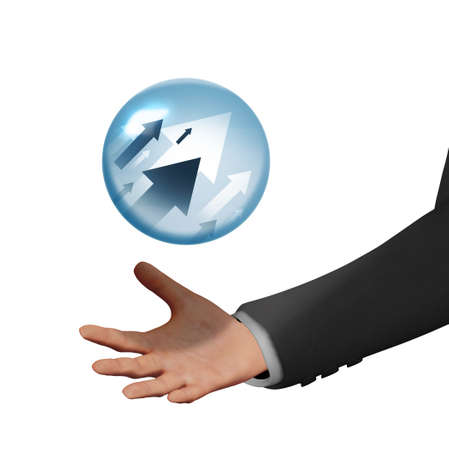 A crystal ball for telling the future of the financial stock market is seen levitating above the hand of a man in a suit. This is a 3-D illustration.