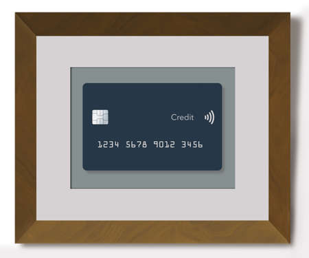 Here is someone's favorite credit card honored by being kept in a frame hanging on the wall like a work of art. This is a 3-D illustration.