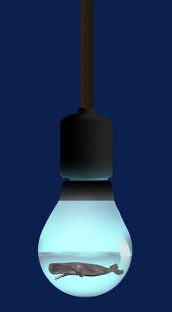 A sperm whale is seen swimming in water inside a light bulb in a 3-D illustration about energy and ocean ecology. 免版税图像
