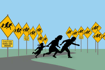 Caution illegal alien crossing traffic signs are seen as a silhouetted family crosses the roadway. This is a 3-D illustration.