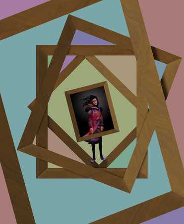An image of a girl is seen among many overlapping empty wooden picture frames in this 3-D illustration about preserving memories with photos and art.